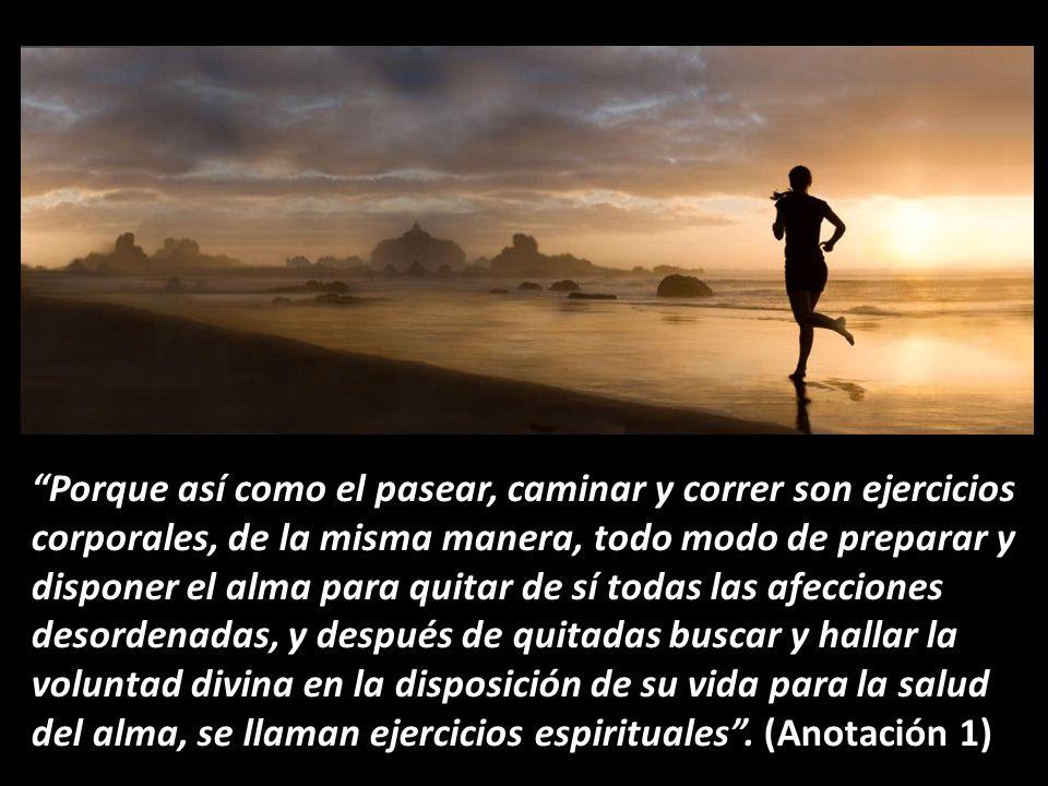 Porque así como el pasear, caminar y correr son ejercicios corporales, de la misma manera, todo modo de preparar y disponer el alma para quitar de sí