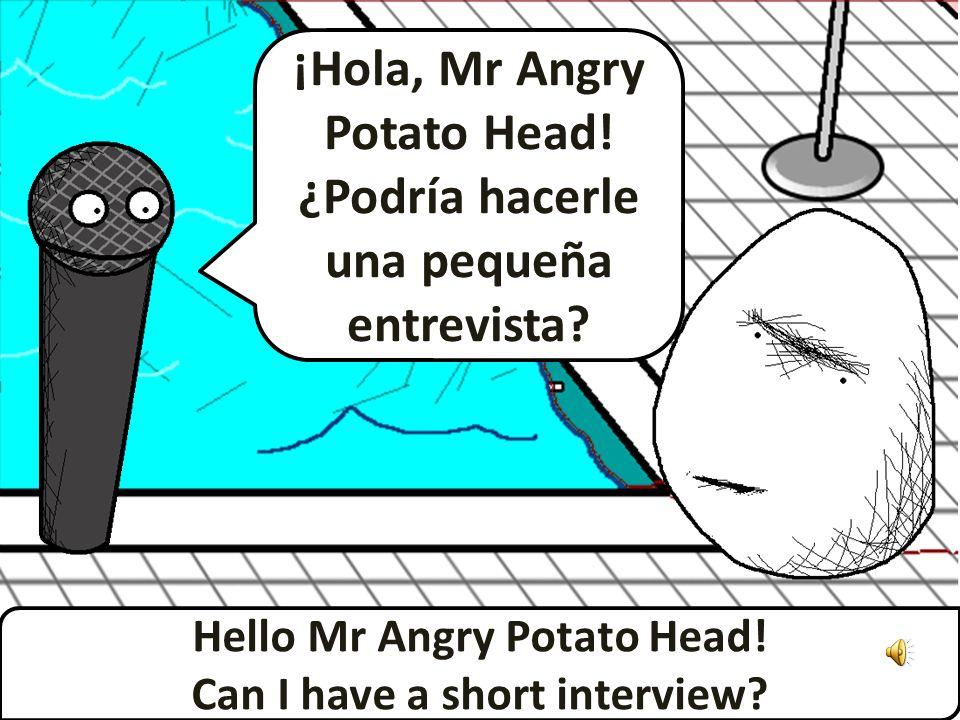 ¡Hola, Mr Angry Potato Head.¿Podría hacerle una pequeña entrevista.