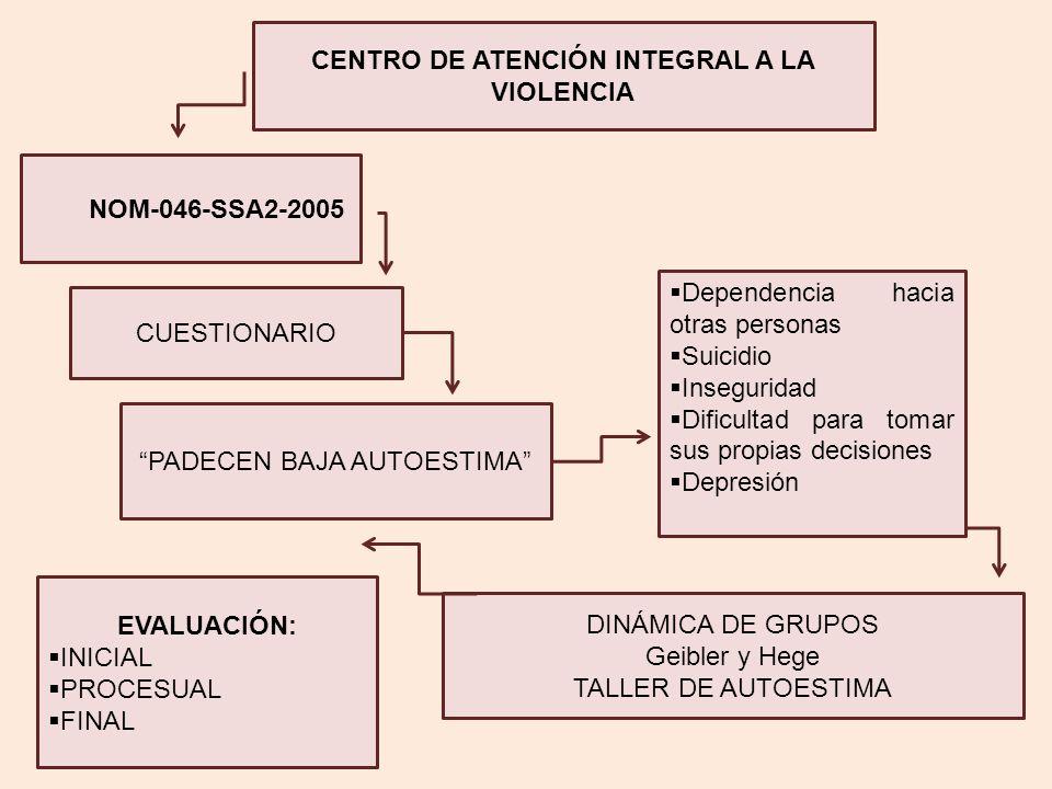 CENTRO DE ATENCIÓN INTEGRAL A LA VIOLENCIA NOM-046-SSA2-2005 CUESTIONARIO PADECEN BAJA AUTOESTIMA Dependencia hacia otras personas Suicidio Insegurida