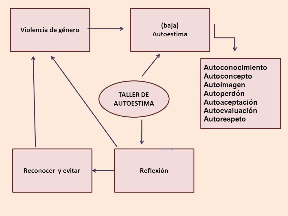Violencia de género (baja) Autoestima Autoconocimiento Autoconcepto Autoimagen Autoperdón Autoaceptación Autoevaluación Autorespeto ReflexiónReconocer