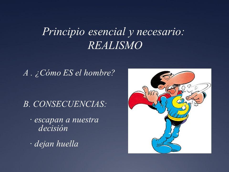 Principio esencial y necesario: REALISMO A. ¿Cómo ES el hombre? B. CONSECUENCIAS: · escapan a nuestra decisión · dejan huella