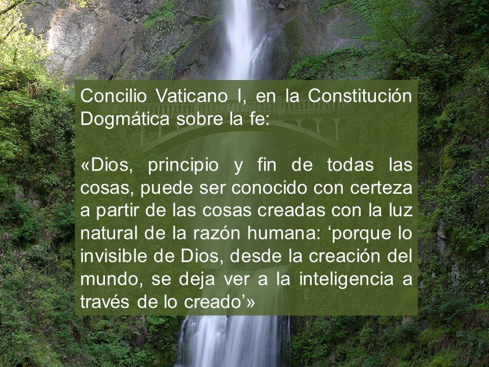 Concilio Vaticano I, en la Constitución Dogmática sobre la fe: «Dios, principio y fin de todas las cosas, puede ser conocido con certeza a partir de l