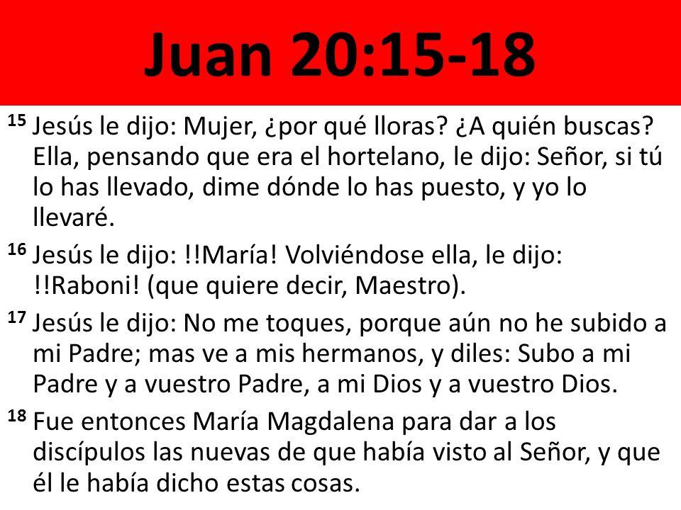 Juan 20:15-18 15 Jesús le dijo: Mujer, ¿por qué lloras? ¿A quién buscas? Ella, pensando que era el hortelano, le dijo: Señor, si tú lo has llevado, di
