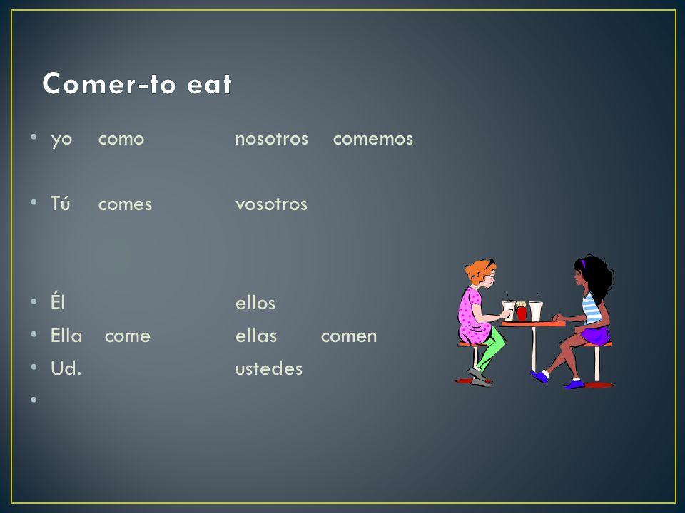 yo comonosotros comemos Túcomesvosotros Élellos Ella comeellas comen Ud.ustedes