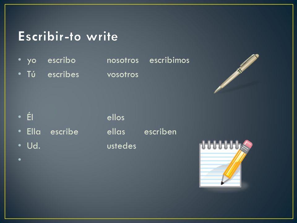 yo escribonosotros escribimos Túescribesvosotros Élellos Ella escribeellas escriben Ud.ustedes