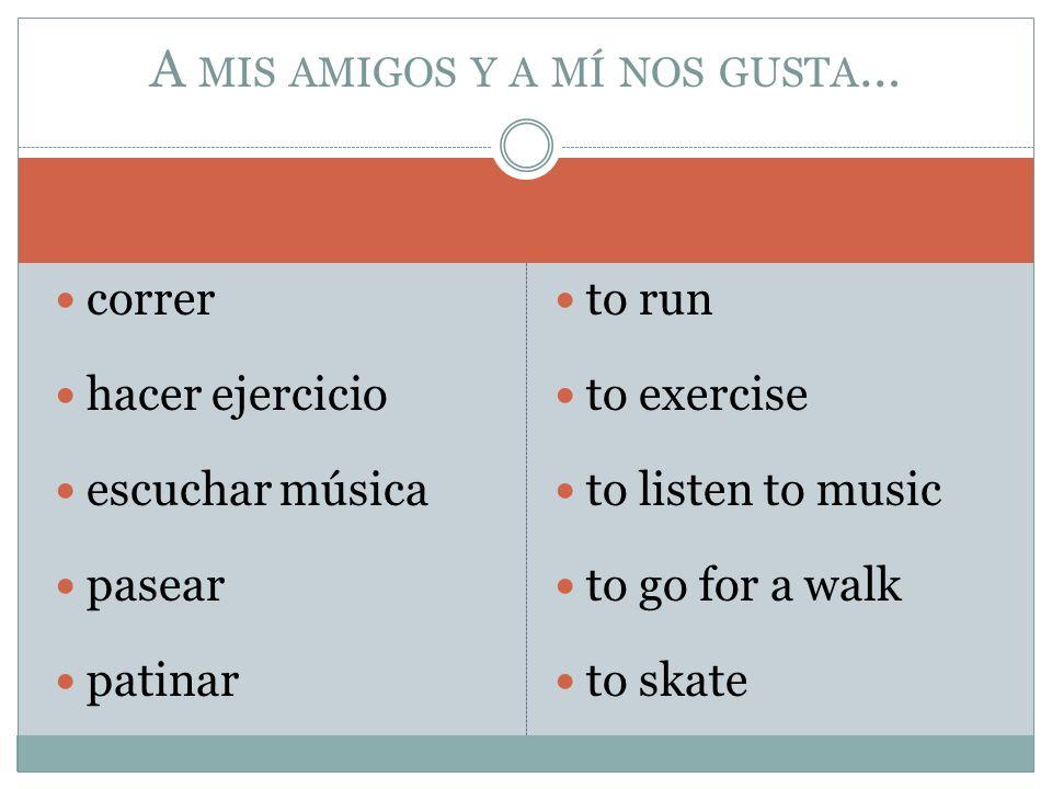correr hacer ejercicio escuchar música pasear patinar to run to exercise to listen to music to go for a walk to skate A MIS AMIGOS Y A MÍ NOS GUSTA …