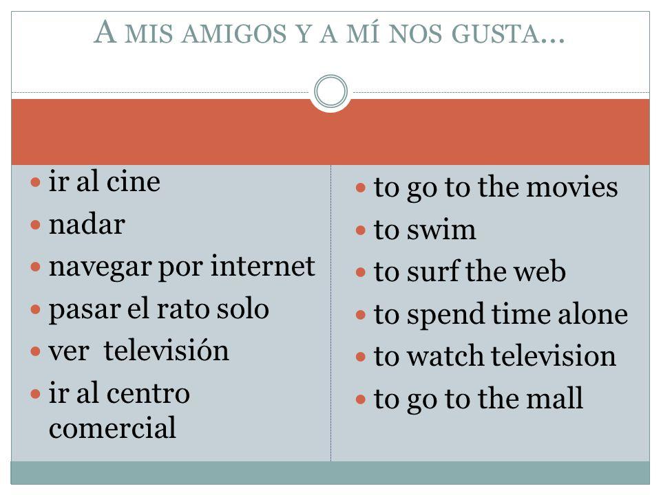 ir al cine nadar navegar por internet pasar el rato solo ver televisión ir al centro comercial to go to the movies to swim to surf the web to spend ti