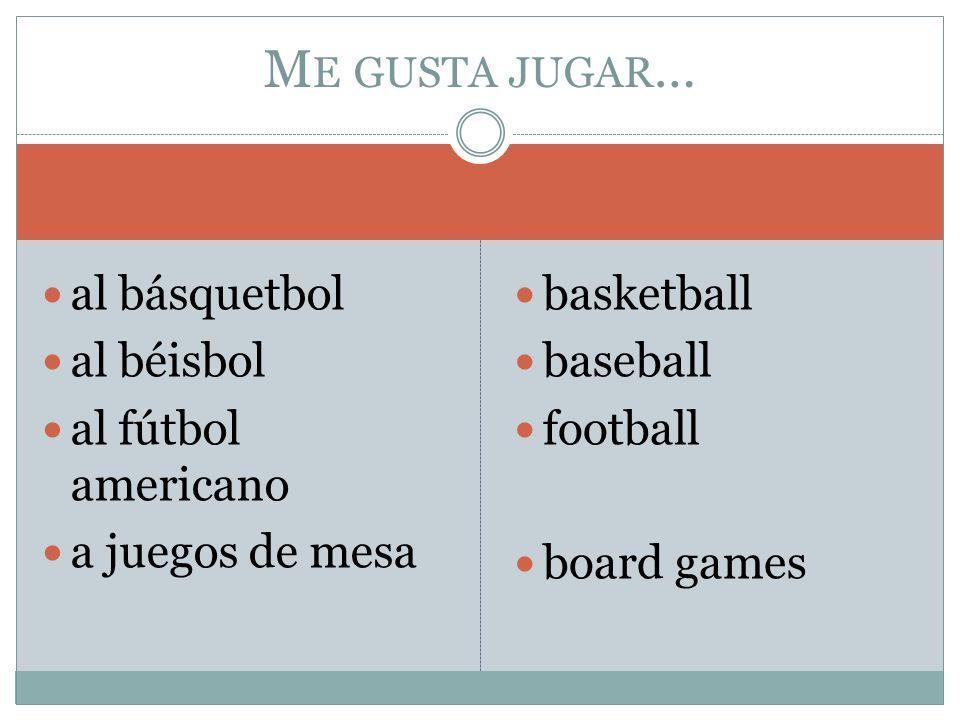 al básquetbol al béisbol al fútbol americano a juegos de mesa basketball baseball football board games M E GUSTA JUGAR …