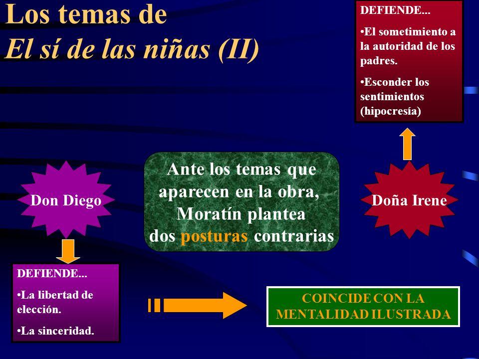 Los temas de El sí de las niñas (II) Ante los temas que aparecen en la obra, Moratín plantea dos posturas contrarias Don DiegoDoña Irene DEFIENDE...