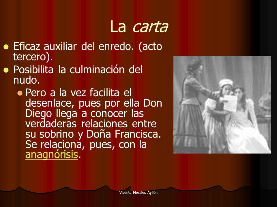 Vicente Morales Ayllón La carta Eficaz auxiliar del enredo. (acto tercero). Posibilita la culminación del nudo. Pero a la vez facilita el desenlace, p