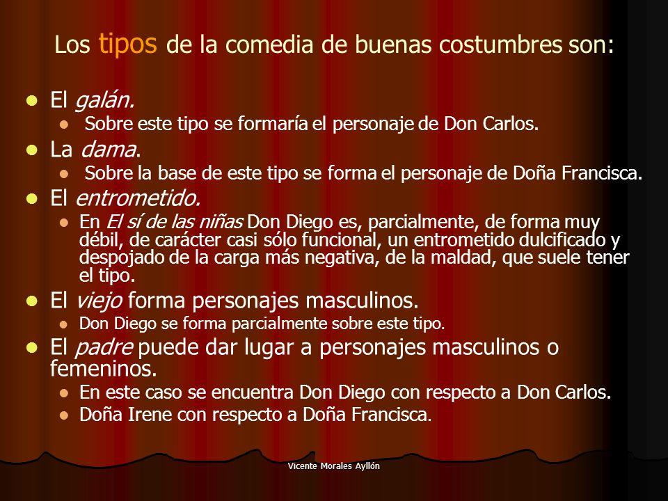 Vicente Morales Ayllón Los tipos de la comedia de buenas costumbres son: El galán. Sobre este tipo se formaría el personaje de Don Carlos. La dama. So