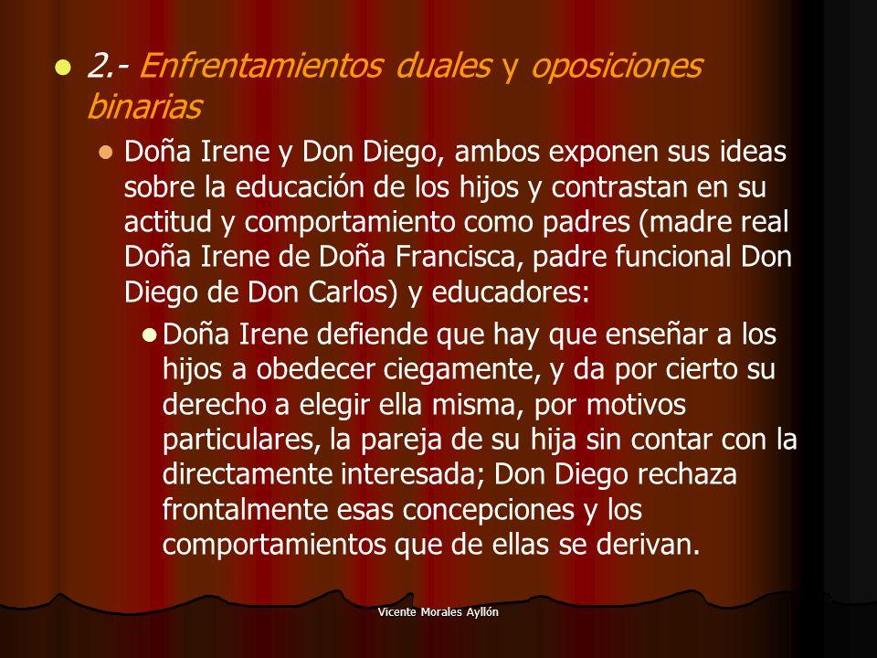 Vicente Morales Ayllón 2.- Enfrentamientos duales y oposiciones binarias Doña Irene y Don Diego, ambos exponen sus ideas sobre la educación de los hij