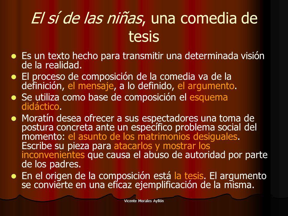 Vicente Morales Ayllón El sí de las niñas, una comedia de tesis Es un texto hecho para transmitir una determinada visión de la realidad. El proceso de