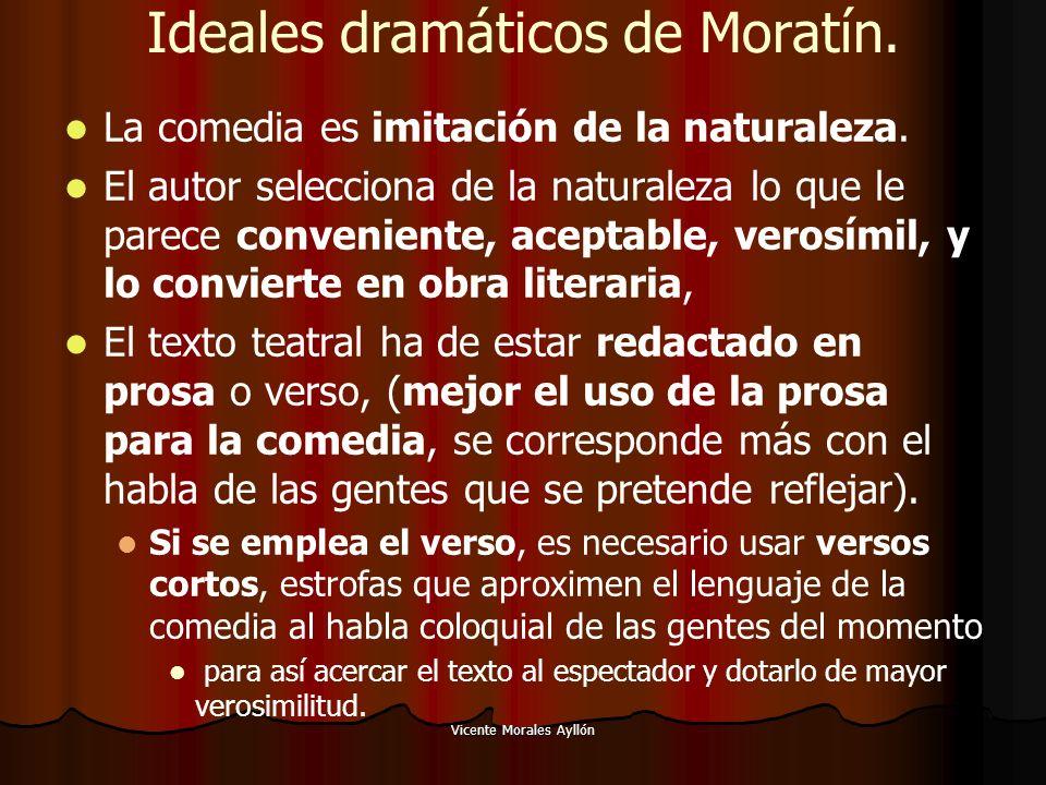 Vicente Morales Ayllón Ideales dramáticos de Moratín. La comedia es imitación de la naturaleza. El autor selecciona de la naturaleza lo que le parece