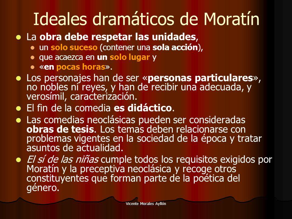 Vicente Morales Ayllón Ideales dramáticos de Moratín La obra debe respetar las unidades, un solo suceso (contener una sola acción), que acaezca en un solo lugar y «en pocas horas».