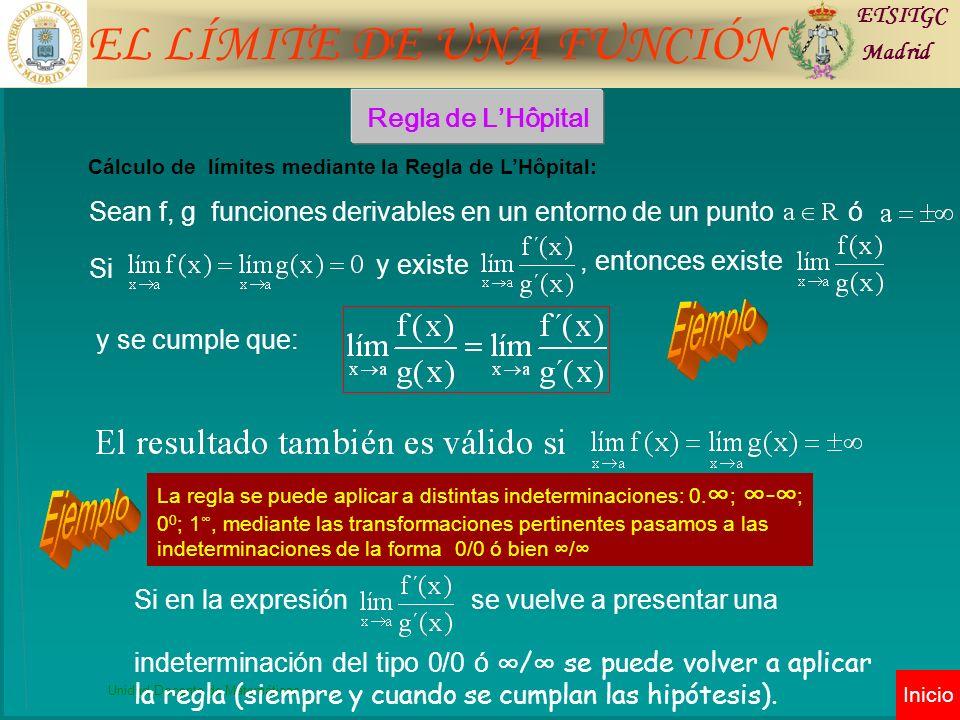 EL LÍMITE DE UNA FUNCIÓN ETSITGC Madrid Unidad Docente de Matemáticas Inicio Regla de LHôpital La regla se puede aplicar a distintas indeterminaciones: 0.