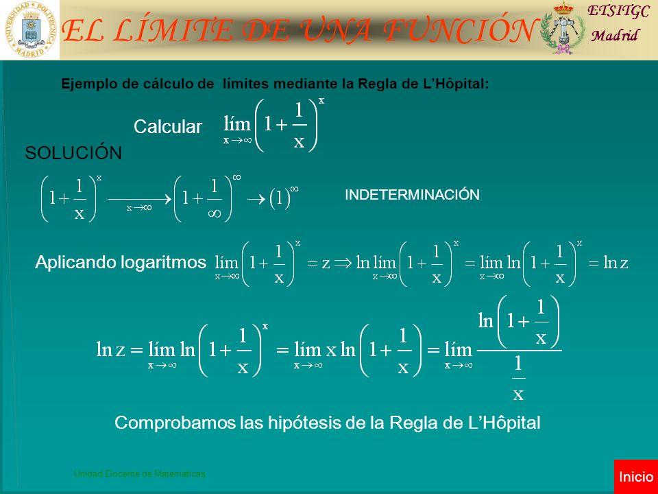 EL LÍMITE DE UNA FUNCIÓN ETSITGC Madrid Unidad Docente de Matemáticas Inicio Calcular.