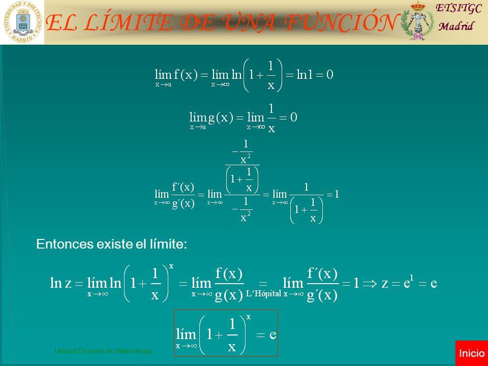 EL LÍMITE DE UNA FUNCIÓN ETSITGC Madrid Unidad Docente de Matemáticas Inicio Entonces existe el límite: