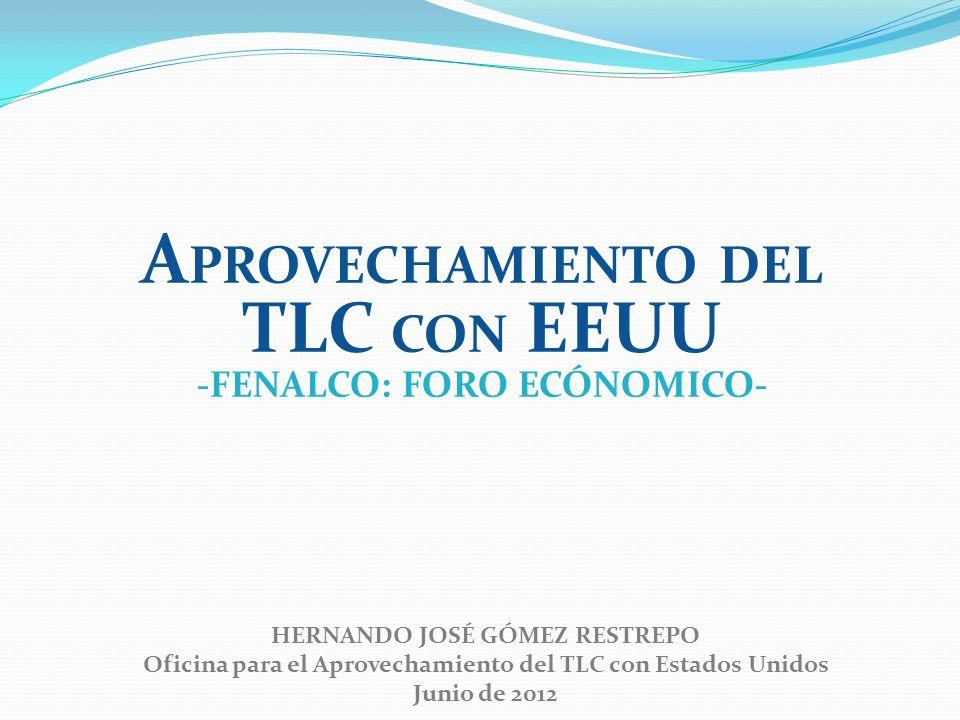 HERNANDO JOSÉ GÓMEZ RESTREPO Oficina para el Aprovechamiento del TLC con Estados Unidos Junio de 2012 A PROVECHAMIENTO DEL TLC CON EEUU -FENALCO: FORO ECÓNOMICO-