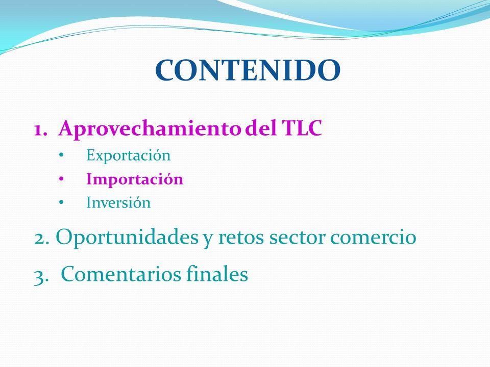 CONTENIDO 1. Aprovechamiento del TLC Exportación Importación Inversión 2. Oportunidades y retos sector comercio 3. Comentarios finales