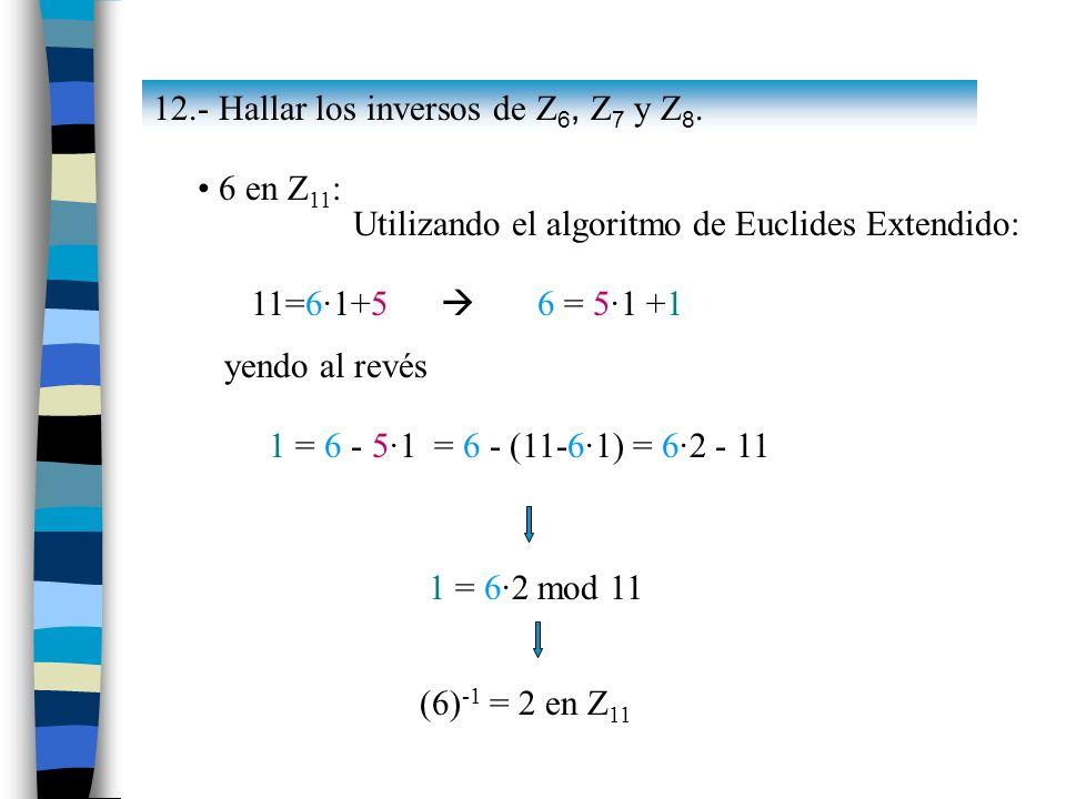 12.- Hallar los inversos de Z 6, Z 7 y Z 8. 6 en Z 11 : Utilizando el algoritmo de Euclides Extendido: 11=6·1+5 6 = 5·1 +1 yendo al revés 1 = 6 - 5·1