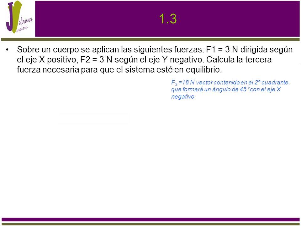 1.4 Calcula el valor de la resultante de cuatro fuerzas perpendiculares entre sí: F1 =9 N norte, F2 =8N este, F3 =6N sur, F4 =2N oeste 6,7 N, dirección noreste, formando un ángulo de 63,4°