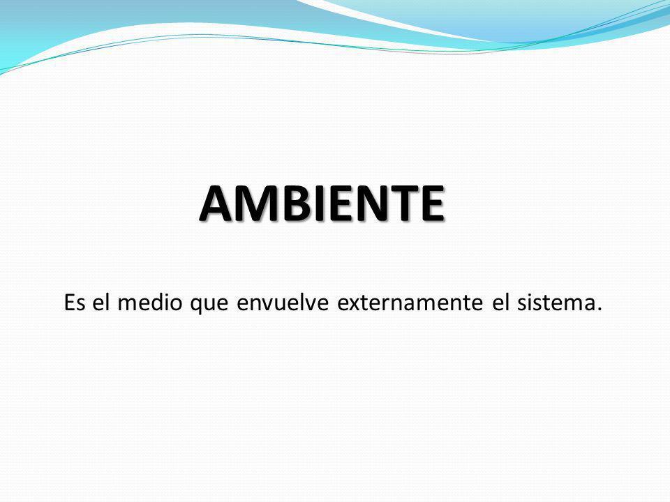AMBIENTE Es el medio que envuelve externamente el sistema.