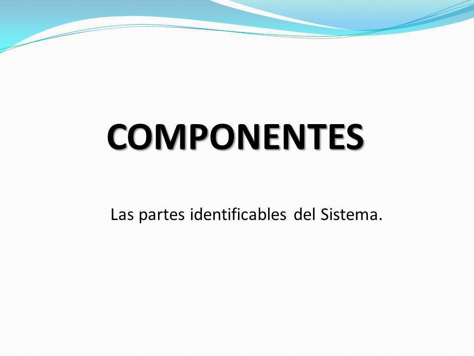 COMPONENTES Las partes identificables del Sistema.