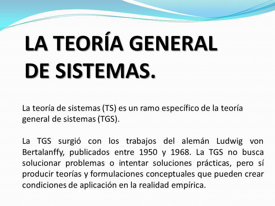 LA TEORÍA GENERAL DE SISTEMAS. La teoría de sistemas (TS) es un ramo específico de la teoría general de sistemas (TGS). La TGS surgió con los trabajos