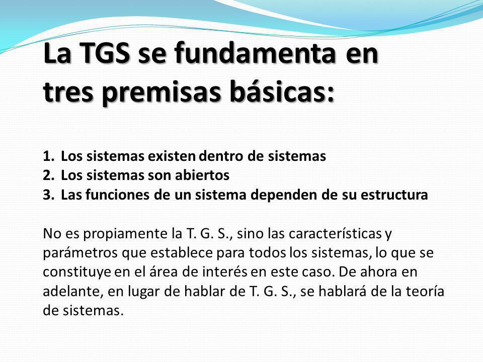 La TGS se fundamenta en tres premisas básicas: 1.Los sistemas existen dentro de sistemas 2.Los sistemas son abiertos 3.Las funciones de un sistema dep