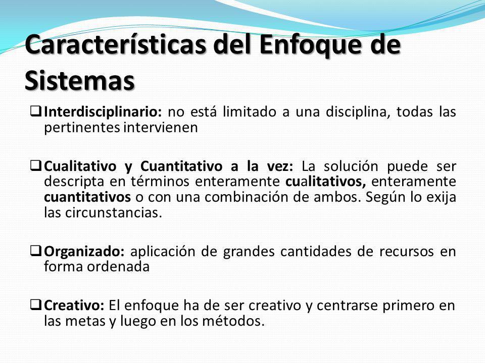 Características del Enfoque de Sistemas Interdisciplinario: no está limitado a una disciplina, todas las pertinentes intervienen Cualitativo y Cuantit