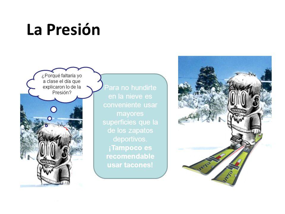 Para no hundirte en la nieve es conveniente usar mayores superficies que la de los zapatos deportivos. ¡Tampoco es recomendable usar tacones! ¿Porqué