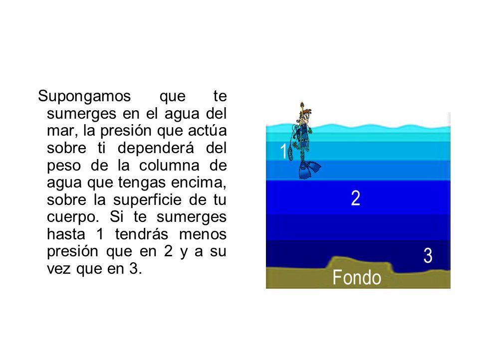 Supongamos que te sumerges en el agua del mar, la presión que actúa sobre ti dependerá del peso de la columna de agua que tengas encima, sobre la supe