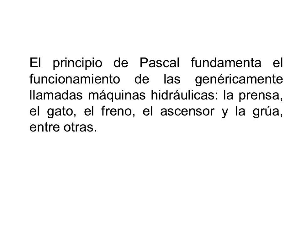 El principio de Pascal fundamenta el funcionamiento de las genéricamente llamadas máquinas hidráulicas: la prensa, el gato, el freno, el ascensor y la