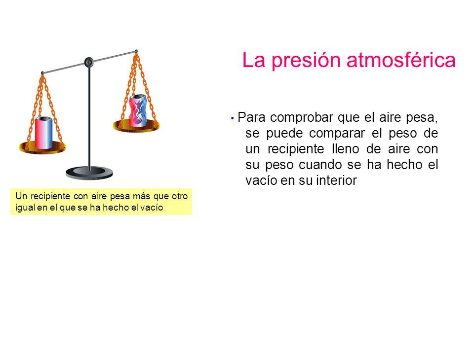 La presión atmosférica Un recipiente con aire pesa más que otro igual en el que se ha hecho el vacío Para comprobar que el aire pesa, se puede compara