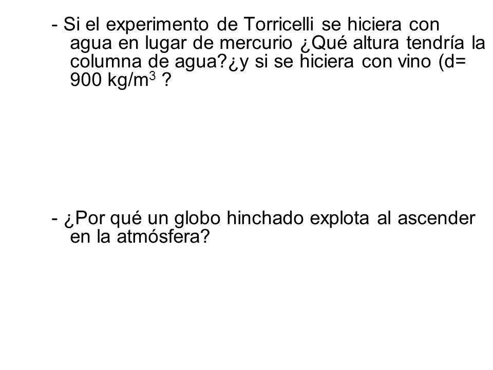 - Si el experimento de Torricelli se hiciera con agua en lugar de mercurio ¿Qué altura tendría la columna de agua?¿y si se hiciera con vino (d= 900 kg