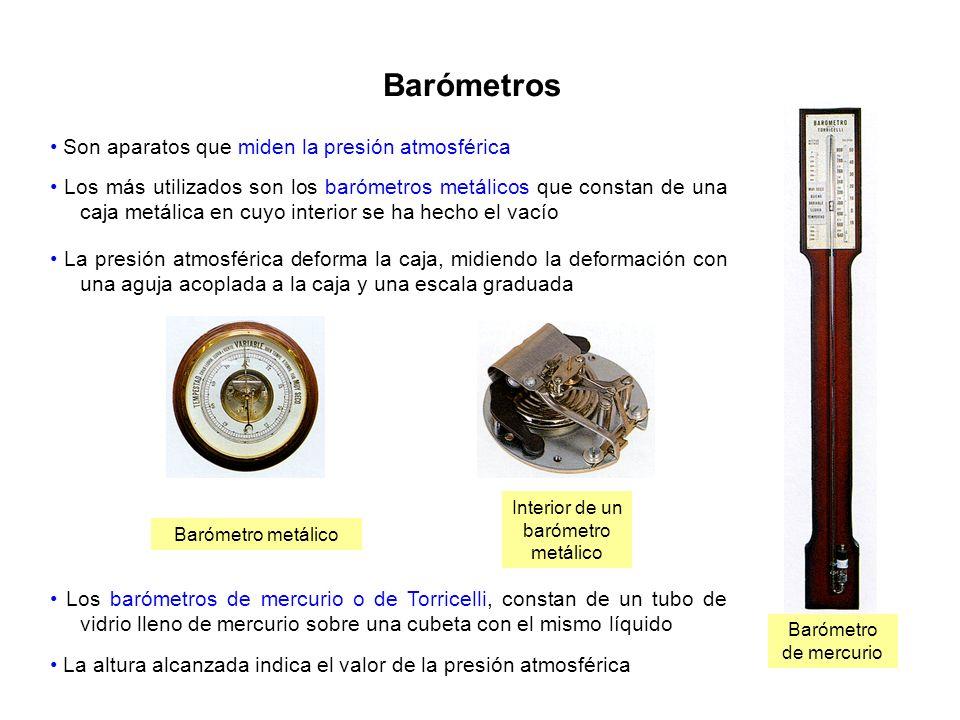 Barómetros Barómetro metálico Interior de un barómetro metálico Barómetro de mercurio Son aparatos que miden la presión atmosférica Los más utilizados