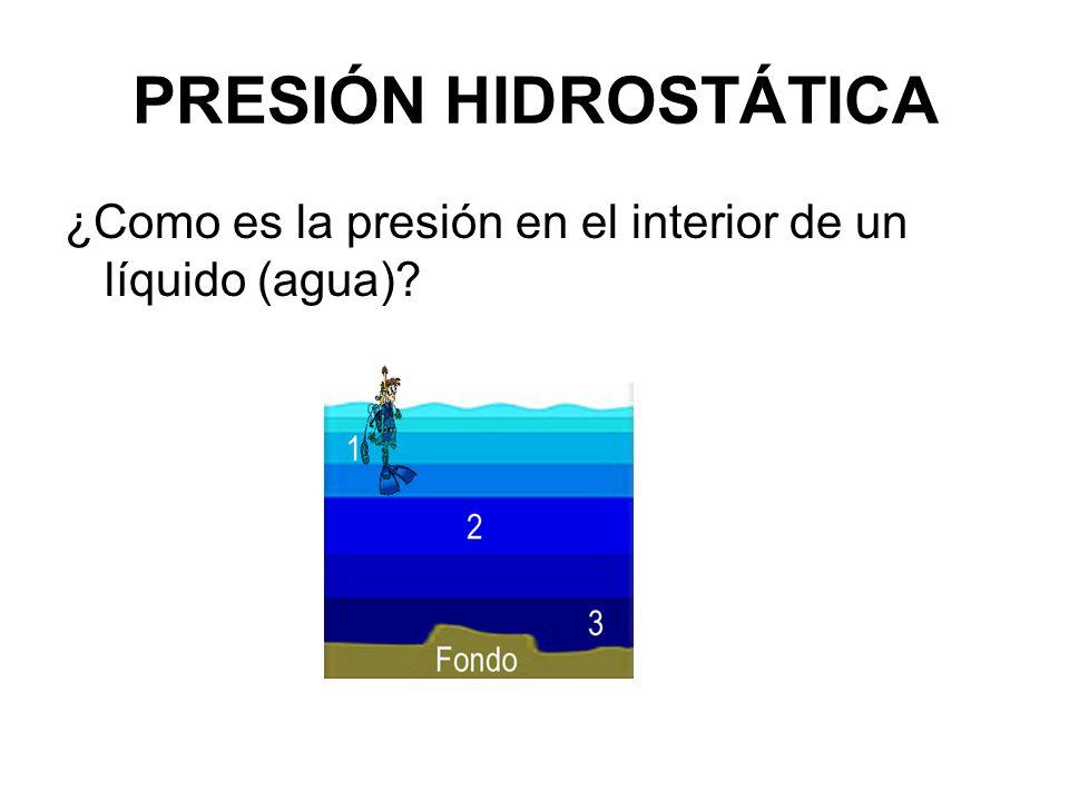 ¿Como es la presión en el interior de un líquido (agua)?