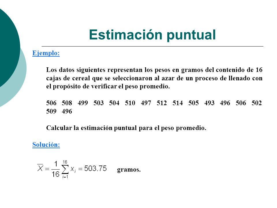 Ejemplo: Los datos siguientes representan los pesos en gramos del contenido de 16 cajas de cereal que se seleccionaron al azar de un proceso de llenad