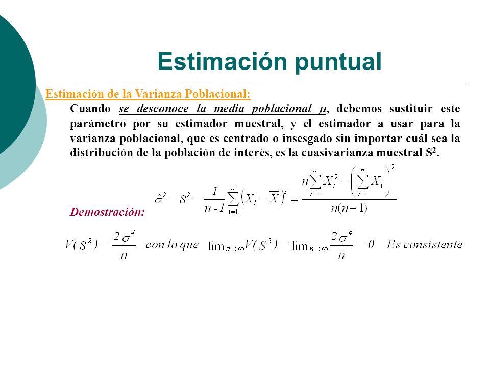 Estimación puntual Estimación de la Varianza Poblacional: Cuando se desconoce la media poblacional, debemos sustituir este parámetro por su estimador