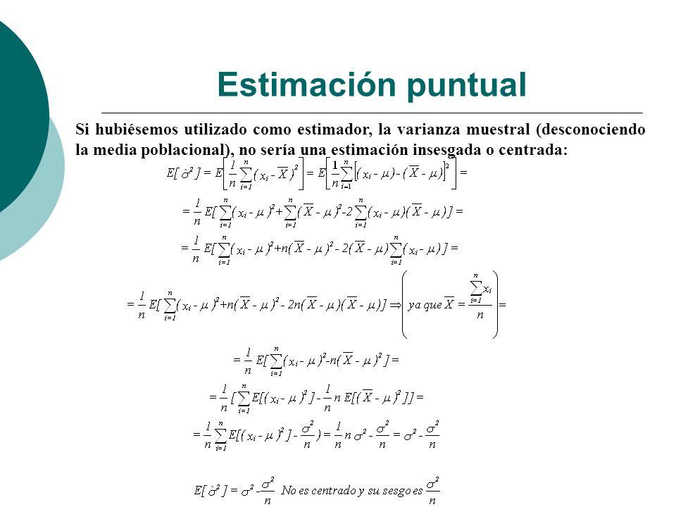 Si hubiésemos utilizado como estimador, la varianza muestral (desconociendo la media poblacional), no sería una estimación insesgada o centrada: