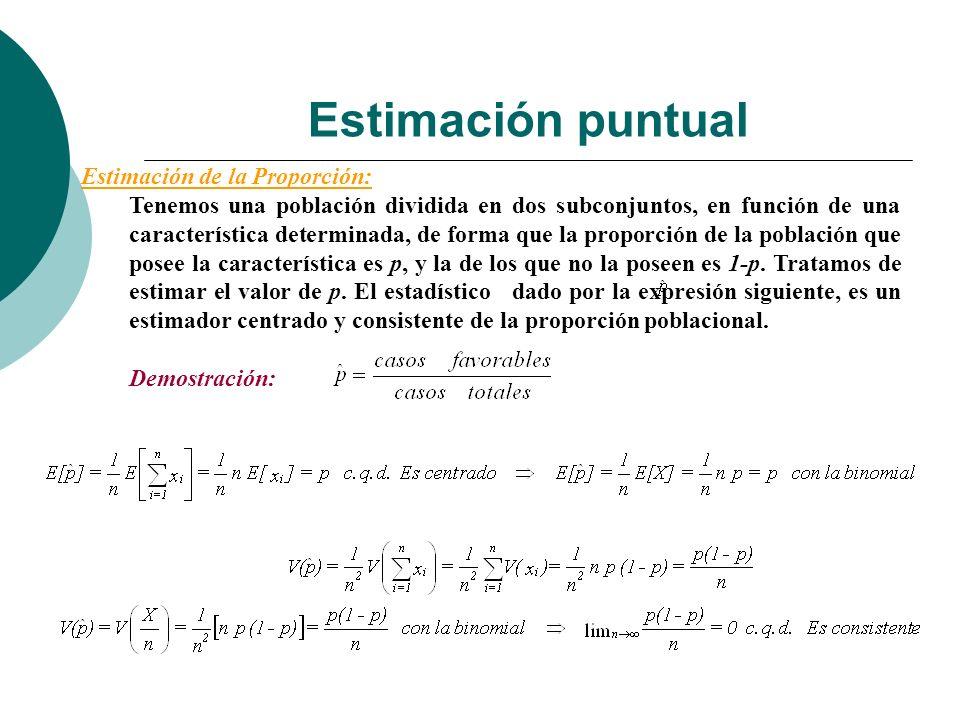 Estimación puntual Estimación de la Proporción: Tenemos una población dividida en dos subconjuntos, en función de una característica determinada, de f