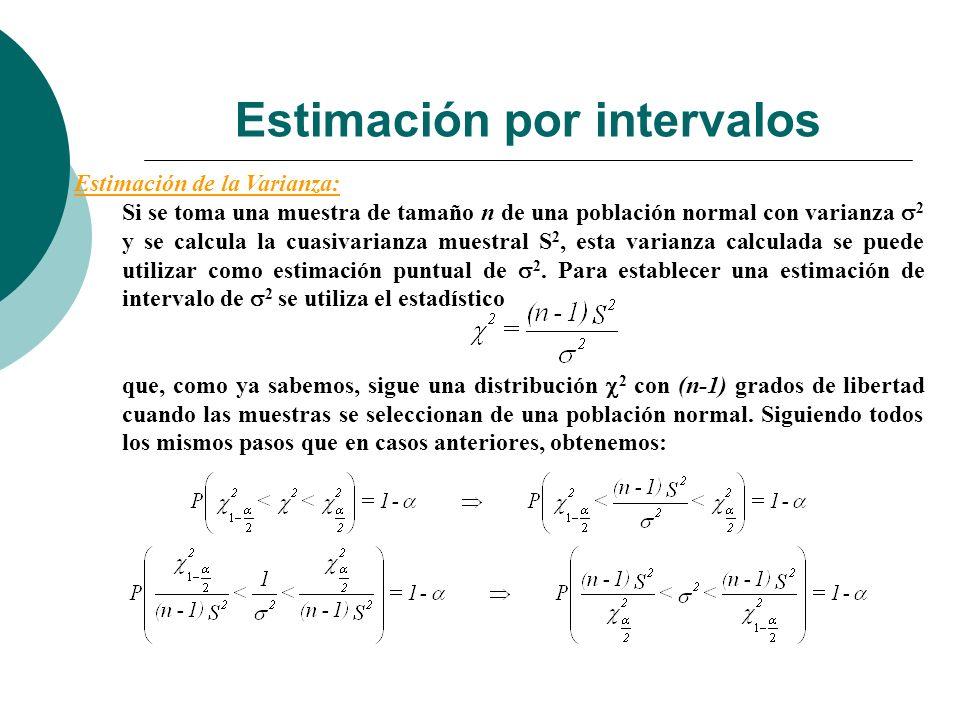 Estimación por intervalos Estimación de la Varianza: Si se toma una muestra de tamaño n de una población normal con varianza 2 y se calcula la cuasiva