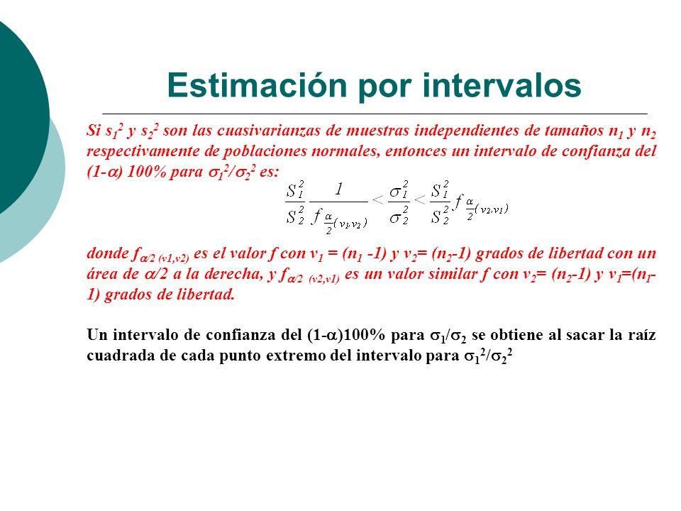 Estimación por intervalos Si s 1 2 y s 2 2 son las cuasivarianzas de muestras independientes de tamaños n 1 y n 2 respectivamente de poblaciones norma