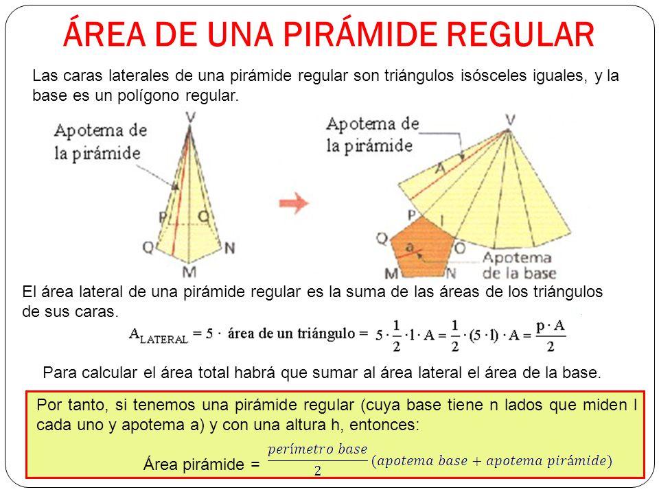 ÁREA DE UNA PIRÁMIDE REGULAR Las caras laterales de una pirámide regular son triángulos isósceles iguales, y la base es un polígono regular.