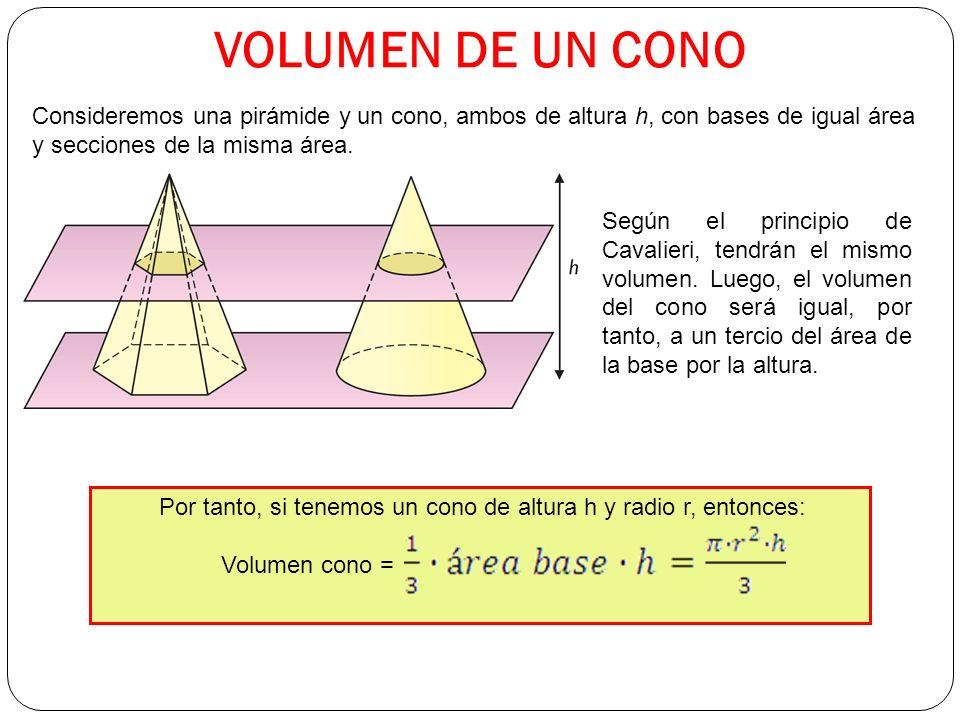 VOLUMEN DE UN CONO Consideremos una pirámide y un cono, ambos de altura h, con bases de igual área y secciones de la misma área.
