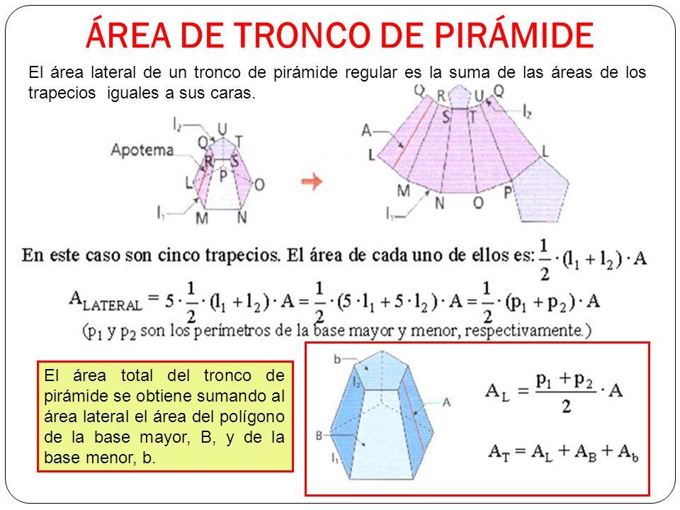 ÁREA DE TRONCO DE PIRÁMIDE El área lateral de un tronco de pirámide regular es la suma de las áreas de los trapecios iguales a sus caras.