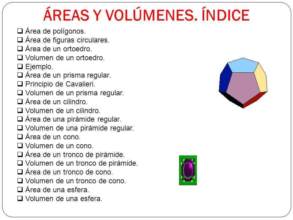 ÁREAS Y VOLÚMENES.ÍNDICE Área de polígonos. Área de figuras circulares.