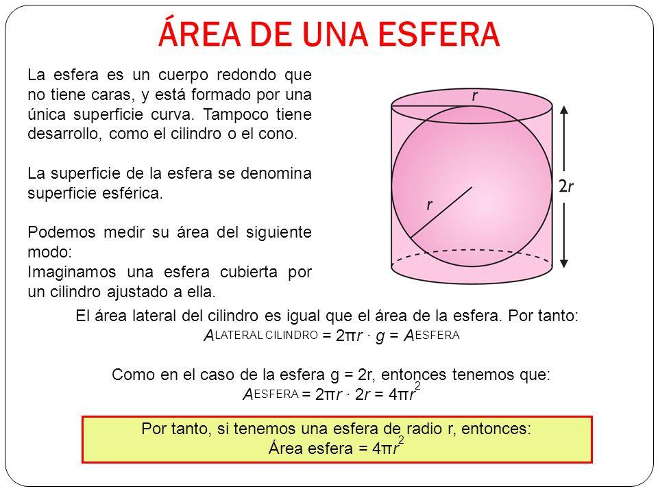 ÁREA DE UNA ESFERA La esfera es un cuerpo redondo que no tiene caras, y está formado por una única superficie curva.