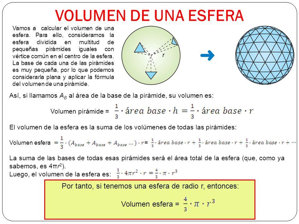 VOLUMEN DE UNA ESFERA Vamos a calcular el volumen de una esfera.